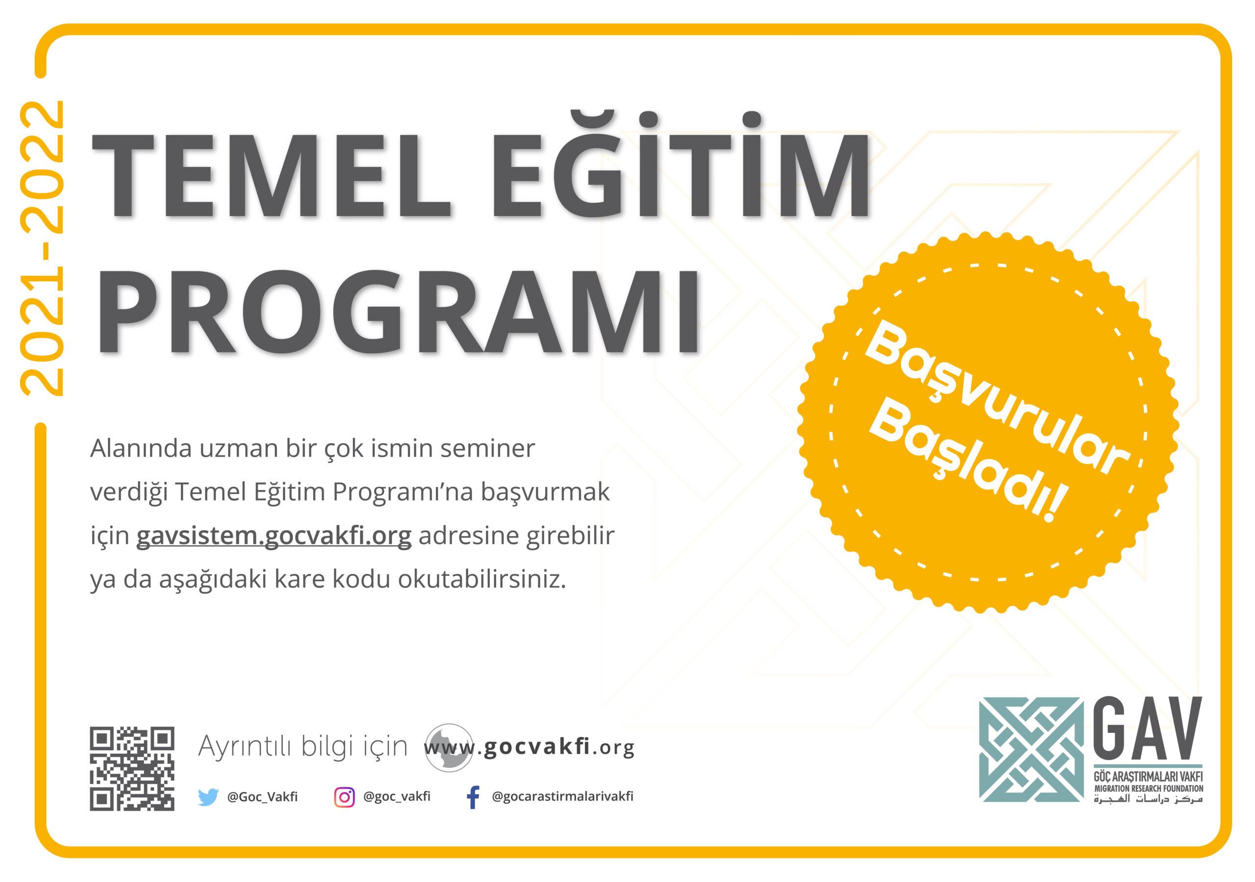 Temel Eğitim Programı 2021-2022
